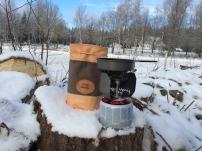 Kompakt campingkök med vindskydd